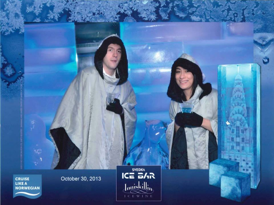 At the Ice Bar with an ice sculpture of a bear (that I'm unfortunately blocking slightly)