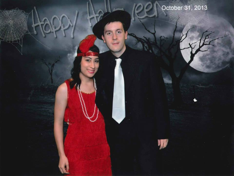Shawn and I with our 20's flapper/gangster costumes